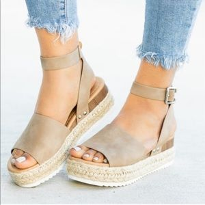 Shoes - A MUST HAVE!✨Flat Wedge Espadrilles-DK NAT